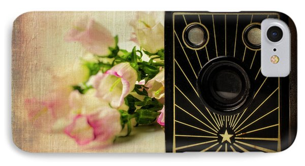 Camera And Campanula Flowers IPhone Case by Garry Gay
