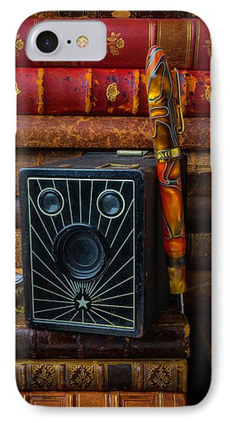 Camera And Old Books IPhone Case by Garry Gay