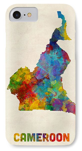 IPhone Case featuring the digital art Cameroon Watercolor Map by Michael Tompsett