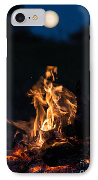 Camp Fire And Full Moon IPhone Case by Cheryl Baxter
