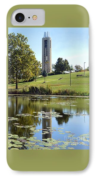 Campanile Reflection In Kansas IPhone Case by Catherine Sherman