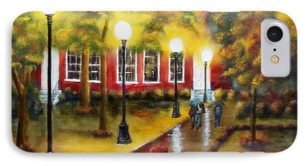 IPhone Case featuring the painting Campus Rain by Chris Fraser