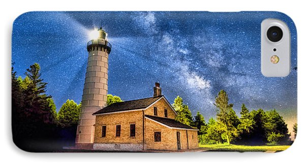 Cana Island Lighthouse Milky Way In Door County Wisconsin IPhone Case by Christopher Arndt