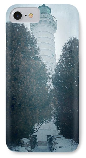 Cana Island Lighthouse Wisconsin Painterly IPhone Case by Joan Carroll