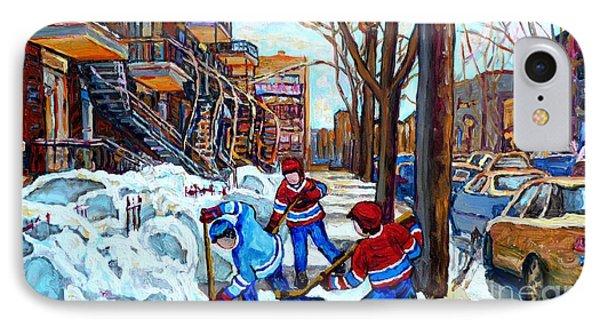 Canadian Art Street Hockey Game Verdun Montreal Memories Winter City Scene Paintings Carole Spandau IPhone Case by Carole Spandau