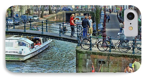 IPhone Case featuring the photograph Amsterdam Canal Scene 1 by Allen Beatty