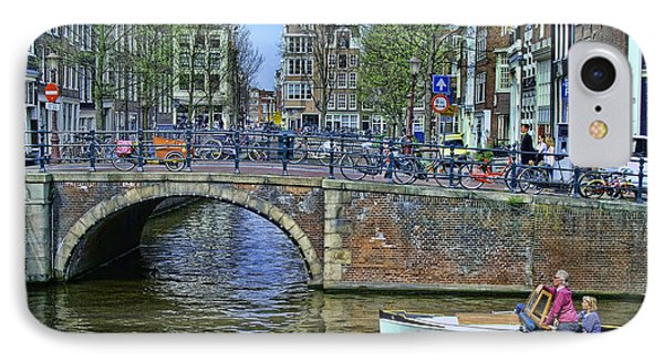 IPhone Case featuring the photograph Amsterdam Canal Scene 3 by Allen Beatty