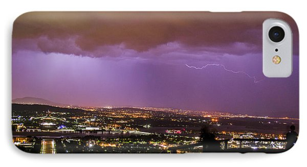 IPhone Case featuring the photograph Canberra Lightning Storm by Angela DeFrias