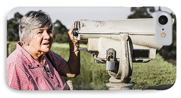 Candid Senior Woman Enjoying A Mountain Top View IPhone Case by Jorgo Photography - Wall Art Gallery