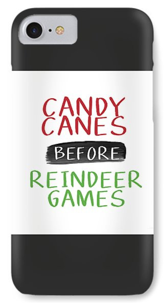 Candy Canes Before Reindeer Games- Art By Linda Woods IPhone Case by Linda Woods