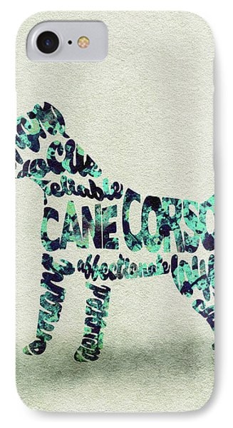 IPhone Case featuring the painting Cane Corso Watercolor Painting / Typographic Art by Ayse and Deniz