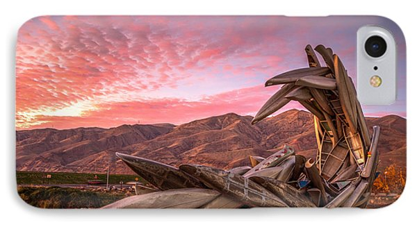 Canoe Art Sculpture With Pink Clouds IPhone Case