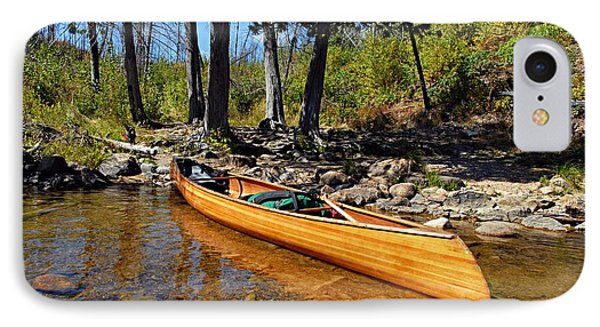 Canoe At Portage Landing Phone Case by Larry Ricker