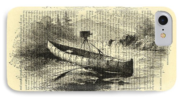 Canoe With Field Camera In Black And White Antique Illustration IPhone Case