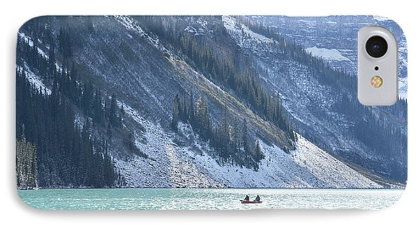 Canoeing On Lake Louise IPhone Case by Keith Boone