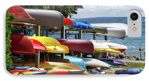 Canoes In Many Colors 02 IPhone Case by Thomas Woolworth