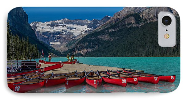 Canoes On Lake Louise IPhone Case by John Roberts