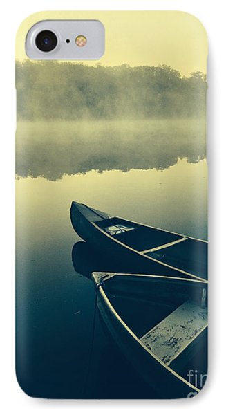 Canoes On Lake IPhone Case by Edward Fielding