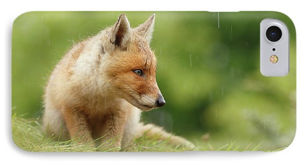 Can't Stand The Rain - Little Fox Kit IPhone Case by Roeselien Raimond