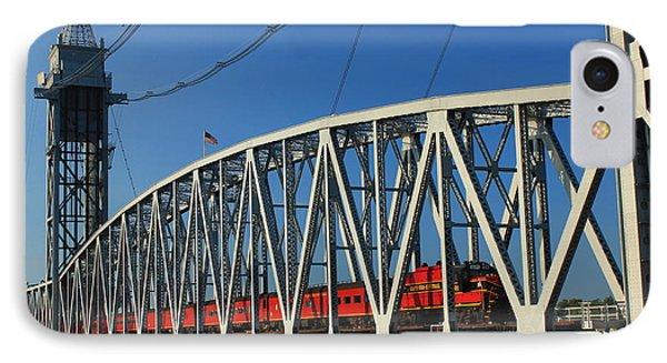 Cape Cod Canal Railroad Bridge Train IPhone Case by John Burk