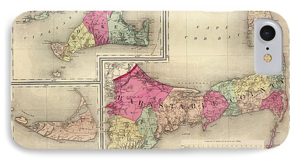 Cape Cod, Martha's Vineyard And Nantucket Map - 1871 IPhone Case by CartographyAssociates