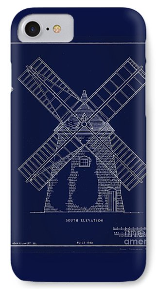 IPhone Case featuring the photograph Historic Cape Cod Windmill Blueprint by John Stephens
