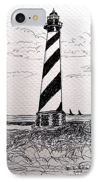 IPhone Case featuring the drawing Cape Hatteras Lighthouse Nc by Julie Brugh Riffey