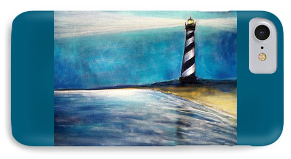 IPhone Case featuring the pastel Cape Hatteras Lighthouse Night Glow by Patricia L Davidson