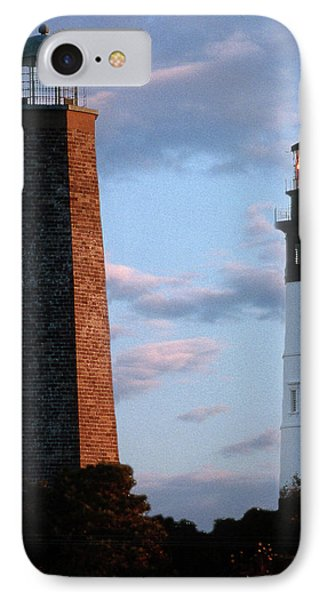 Cape Henry Lighthouses In Virginia Phone Case by Skip Willits