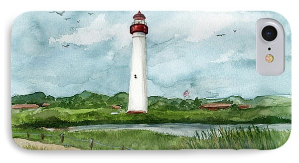IPhone Case featuring the painting Cape May Lighthouse by Nancy Patterson