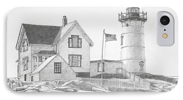 Cape Neddick Light House Drawing Phone Case by Dominic White