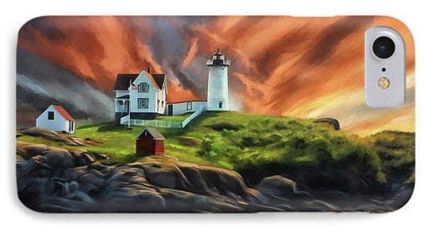 IPhone Case featuring the digital art Cape Neddick Nubble Lighthouse by Lois Bryan