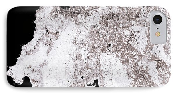 Cape Town Abstract City Map Black And White IPhone Case by Frank Ramspott