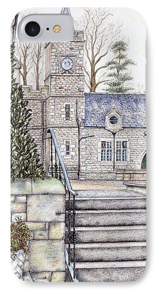 Capernwray Hall Clock  Lancashire IPhone Case by Sandra Moore