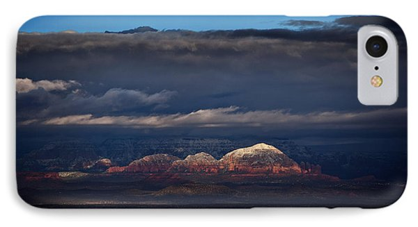 IPhone Case featuring the photograph Capitol Butte In Sedona With Snow by Ron Chilston
