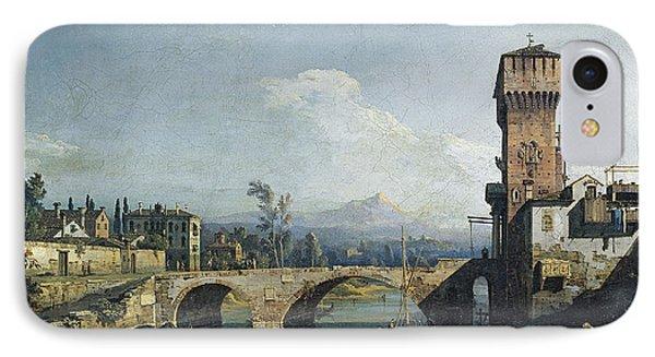 Capriccio With A River And Bridge IPhone Case by Bernardo Bellotto