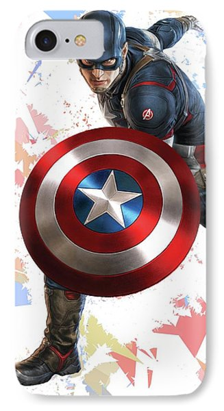 IPhone Case featuring the mixed media Captain America Splash Super Hero Series by Movie Poster Prints