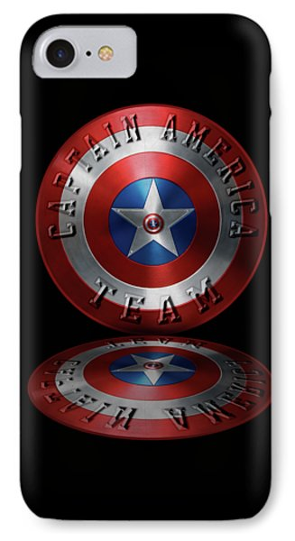 Captain America Team Typography On Captain America Shield  IPhone Case by Georgeta Blanaru