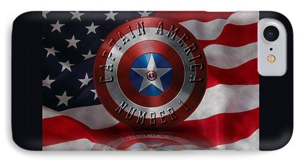 Captain America Typography On Captain America Shield  IPhone Case by Georgeta Blanaru