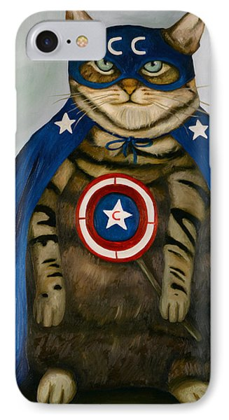 Captain Cat Super Hero IPhone Case by Leah Saulnier The Painting Maniac