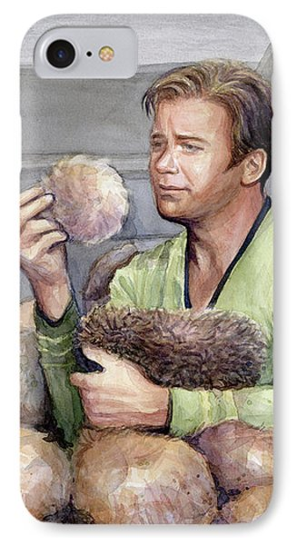 Captain Kirk And Tribbles IPhone Case by Olga Shvartsur