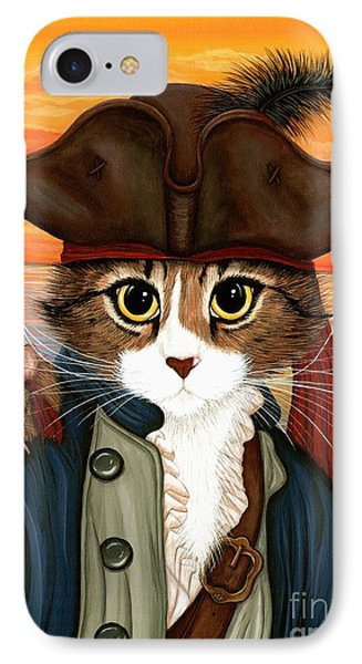IPhone Case featuring the painting Captain Leo - Pirate Cat And Rat by Carrie Hawks