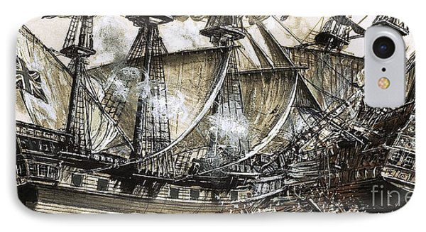 Captain Maynard's Sloop Bore Down On The Pirate Ship IPhone Case by Clive Uptton