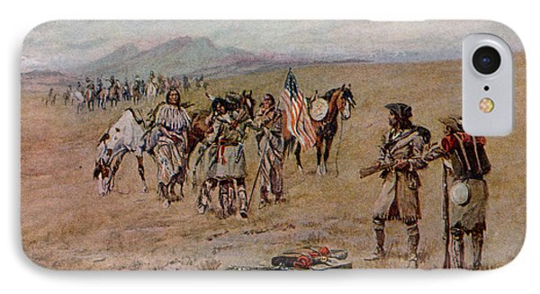 Captain Meriwether Lewis With Drewyer And Shield Meeting The Indians IPhone Case by Charles Marion Russell