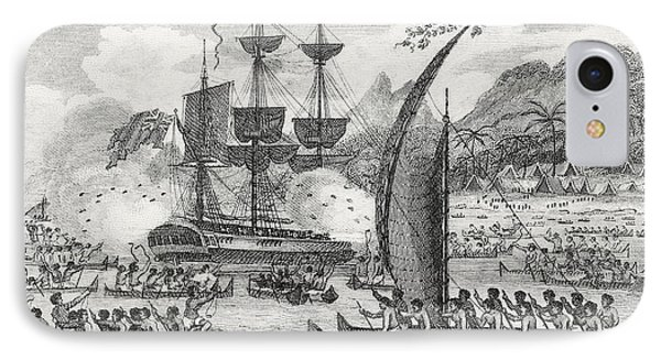 Captain Wallis Attacked By The Indians, 1767  IPhone Case by English School