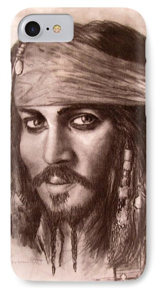 IPhone Case featuring the drawing Capt.jack by Jack Skinner