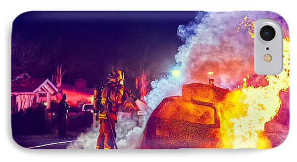 IPhone Case featuring the photograph Car Arson  by TC Morgan