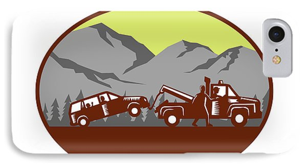 Car Being Towed Away Mountains Oval Woodcut IPhone Case