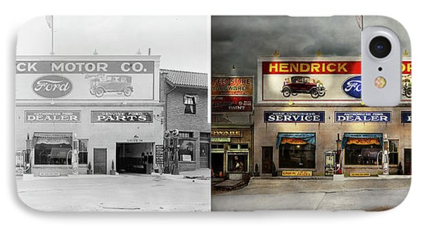 IPhone Case featuring the photograph Car - Garage - Hendricks Motor Co 1928 - Side By Side by Mike Savad