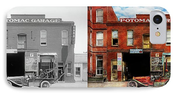 IPhone Case featuring the photograph Car - Garage - Misfit Garage 1922 - Side By Side by Mike Savad